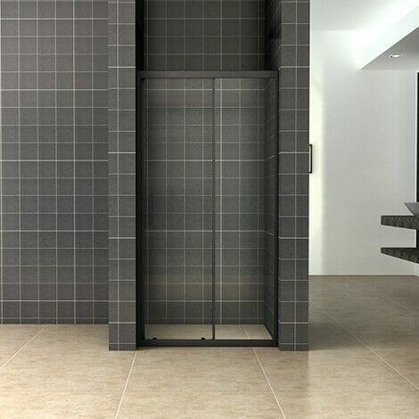 Wiesbaden Skyline schuifbare nisdeur 100x200cm 8mm mat zwart NANO coating