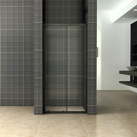 Wiesbaden Skyline schuifbare nisdeur 120x200cm 8mm mat zwart NANO coating