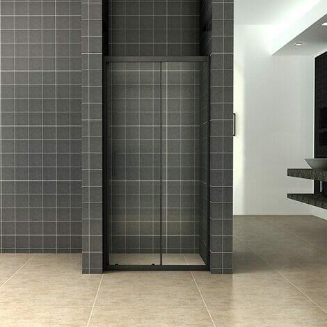 Wiesbaden Skyline schuifbare nisdeur 130x200cm 8mm mat zwart NANO coating