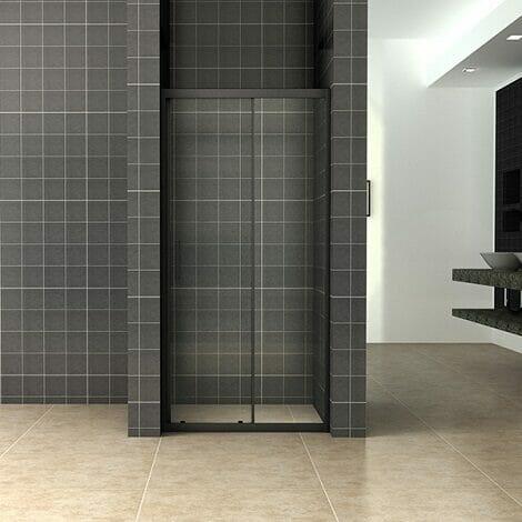 Wiesbaden Skyline schuifbare nisdeur 140x200cm 8mm mat zwart NANO coating
