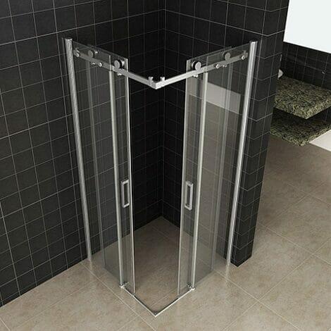 Wiesbaden douchecabine hoekinstap met 2 schuifdeuren 8mm glas chroom NANO coating 2