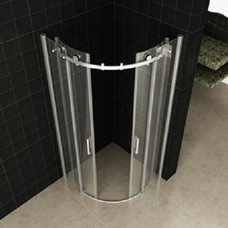 Wiesbaden douchecabine kwartrond rechts 2 schuifdeuren 8mm glas chroom NANO coating 1