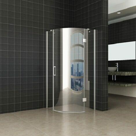 Wiesbaden douchecabine kwartrond rechtsdraaiend 8mm glas chroom NANO coating