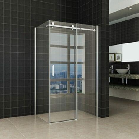 Wiesbaden douchedeur met zijwand chroom 8mm NANO coating