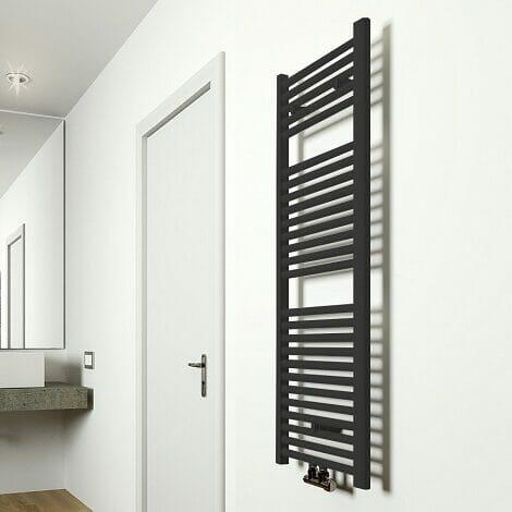 Wiesbaden handdoekradiator Elara mat zwart 1185 x 450 mm 538W middenondersluiting