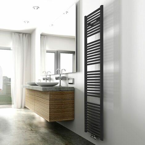 Wiesbaden handdoekradiator Elara mat zwart 1817 x 450 mm 830W middenondersluiting