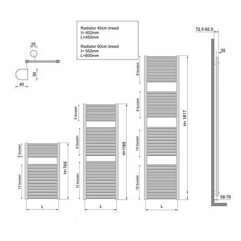 Wiesbaden handdoekradiator Elara middenonderaansluiting