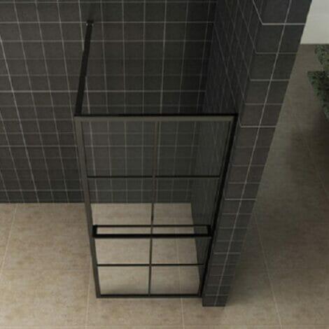 Wiesbaden inloopdouche 10mm zwart raster met handdoekhouder NANO coating 2