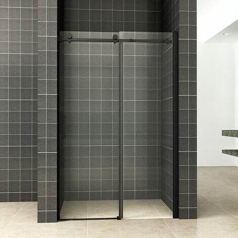 Wiesbaden schuifbare nisdeur 2 delig 110x200cm 8mm mat zwart NANO coating