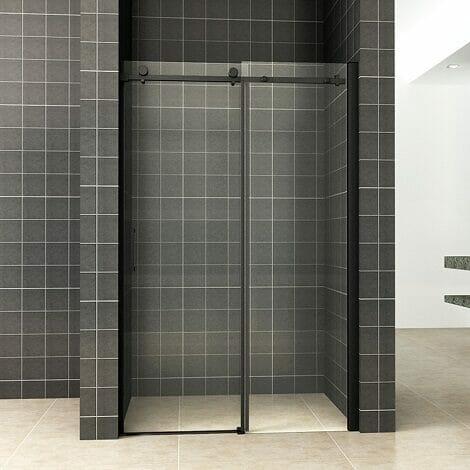 Wiesbaden schuifbare nisdeur 2 delig 120x200cm 8mm mat zwart NANO coating
