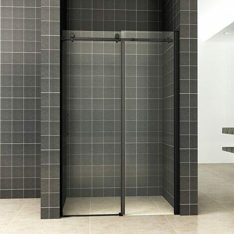 Wiesbaden schuifbare nisdeur 2 delig 140x200cm 8mm mat zwart NANO coating