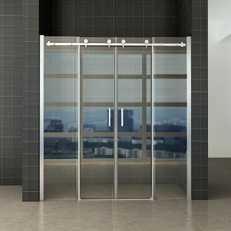 Wiesbaden schuifbare nisdeur 4 delig 180x200cm chroom 8mm glas NANO coating 1