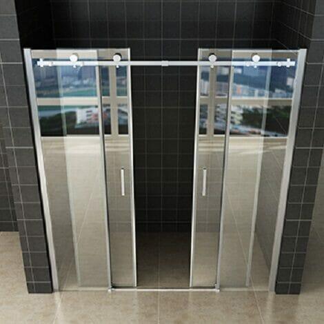 Wiesbaden schuifbare nisdeur 4 delig 180x200cm chroom 8mm glas NANO coating 2