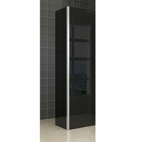 Wiesbaden zijwand voor inloopdouche met hoekprofiel 35x200cm 10mm rookglas NANO coating 1