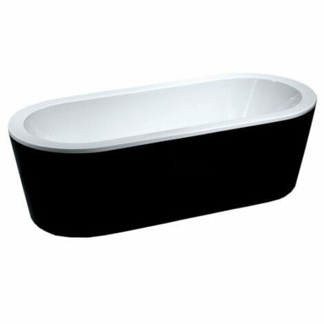 Xellanz nero vrijstaand acryl ligbad 178x80 cm zwart wit