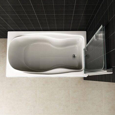 Wiesbaden badwand 2 delig inklapbaar 100x140cm 6mm chroom NANO coating 2