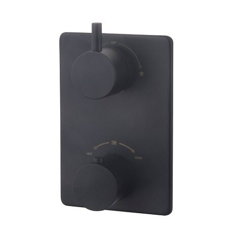 Wiesbaden inbouwthermostaatset caral 20 cm rond type 302 MZ muuruitloop mat zwart 1