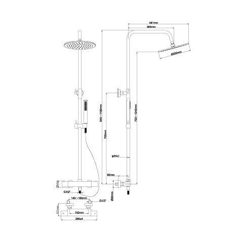 Wiesbaden opbouw regendoucheset met thermostatische kraan Caral geborsteld koper 2