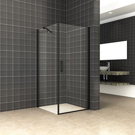 Wiesbaden swingdeur met zijwand universeel 90x90x200cm mat zwart 8mm glas NANO coating
